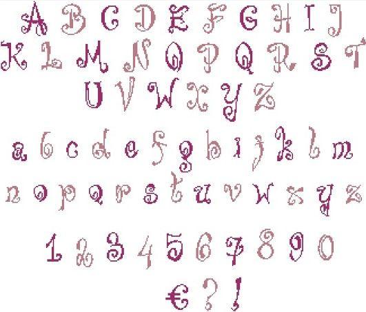 Broderie point de croix gratuit alphabet - korea cute